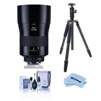 Image of Zeiss Otus 100mm f/1.4 Apo Sonnar ZF.2 Manual Focusing Lens for Nikon Cameras - Bundle With FotoPro X-Go Max Carbon Fiber Tripod with Built-In Monopod, FPH-62Q Ball Head, Cleaning Kit, Microfiber Cloth