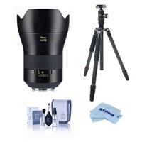 Image of Zeiss Otus 1.4/28 Wide-Angle Lens with EF Mount ZE - Bundle With FotoPro X-Go Max Carbon Fiber Tripod with Built-In Monopod, FPH-62Q Ball Head, Cleaning Kit, Microfiber Cloth