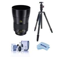 Image of Zeiss OTUS 55mm F/1.4 Apo Distagon T* Zf.2 Lens for Nikon F (AI-S) Bayonet SLR System - Bundle With FotoPro X-Go Max Carbon Fiber Tripod with Built-In Monopod, FPH-62Q Ball Head, Cleaning Kit, Cloth