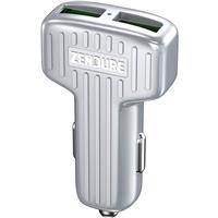 Image of Zendure 30W Car Charger with QC 3.0 and Dual USB Ports, Silver
