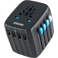 Image of Zendure Passport Global Travel Plug Adapter with Auto-Resetting Fuse, Black