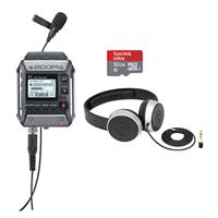Image of Zoom F1 Field Recorder with Lavalier Microphone - Bundle With 32GB Micro SDHC Card, Samson SR450 Closed-Back On-Ear Studio Headphones