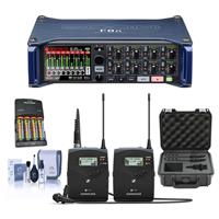 Image of Zoom F8n Multi-Track Field Recorder - Bundle With Sennheiser ew 112 P G4 A Camera Lavalier Set, 4x AA Ni-MH Batteries With Charger, SKB iSeries Sennheiser SW Mic Case, Cleaning Kit