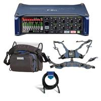 Image of Zoom F8n Multi-Track Field Recorder - Bundle With Orca OR-28 Mini Sound Bag, Orca OR-40 Harness for Audio Bags, 20' Heavy Duty 7mm Rubber XLR Microphone Cable