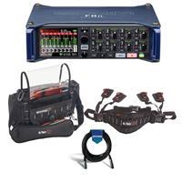 Image of Zoom F8n Multi-Track Field Recorder - Bundle With K-Tek Stingray Junior Audio Mixer Recorder Bag, K-Tek KSWB1 Stingray Waist Belt, 20' Heavy Duty 7mm Rubber XLR Microphone Cable
