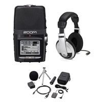 Image of Zoom H2N Handy Recorder - Bundle With H2N Accessory Package Consists of Remote Control, Cable, Windscreen, USB AC Adapter, USB Cable, Tripod Stand, Case and Mic Clip Adapter, Samson HP10 Playback Headphones