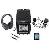 Image of Zoom H2N Handy Recorder with Five Built-in Mic Capsules, - Bundle With 16GB SDHC Card, Zoom H2N Accessory Package, Samson SR350 Over-Ear Stereo Headphones, 3.5mm to 3.5mm Stereo Output Cable