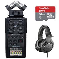 Image of Zoom H6 All Black Handy Recorder Bundle with Headphones and 16GB Memory Card