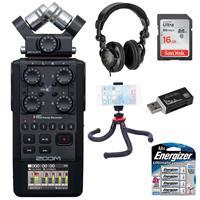 Image of Zoom H6 All Black Handy Recorder Bundle with Headphones, 16GB Memory Card, Mini Tripod