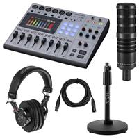 Image of Zoom PodTrak P8 Portable Multitrack Podcast Recorder Bundle with H&A Studio Broadcast Microphone, Professional Monitor Headphones, Mic Stand, XLR M to XLR F Cable 15-Foot