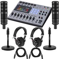 Image of Zoom PodTrak P8 Portable Multitrack Podcast Recorder Bundle with 2x H&A Studio Broadcast Microphone, 2x Professional Monitor Headphones, 2x Mic Stand, 2x XLR M to XLR F Cable 15-Foot