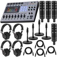Compare Prices Of  Zoom PodTrak P8 Portable Multitrack Podcast Recorder Bundle with 4x H&A Studio Broadcast Microphone, 4x Professional Monitor Headphones, 4x Mic Stand, 4x XLR M to XLR F Cable 15-Foot