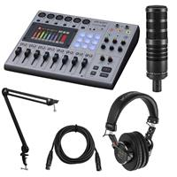 Image of Zoom PodTrak P8 Portable Multitrack Podcast Recorder and Mixer Bundle with H&A Studio Microphone, Professional Monitor Headphones, Mic Broadcast Arm, XLR M to XLR F Cable 15-Foot