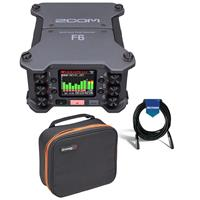 Compare Prices Of  Zoom F6 Multi-Track Field Recorder - Bundle With K-Tek KGBL1 Large Gizmo Bag with Transparent Bottom, 20' Heavy Duty 7mm Rubber XLR Microphone Cable