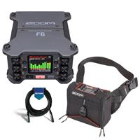 Image of Zoom F6 Multi-Track Field Recorder - Bundle With K-Tek KSF6 Stingray Bag for Zoom F6, 20' Heavy Duty 7mm Rubber XLR Microphone Cable
