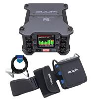 Image of Zoom F6 Multi-Track Field Recorder - Bundle With Zoom PCF-6 Protective Case for F6, 20' Heavy Duty 7mm Rubber XLR Microphone Cable