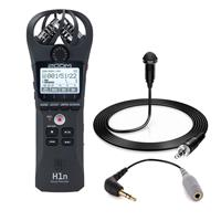 Image of Zoom H1n Digital Handy Recorder - Black - With H&A HA-OM-L Lavalier Microphone, SC3 3.5mm TRRS to TRS Adaptor for smartLav