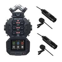 Image of Zoom H8 Handy Recorder - With 2 Pack Professional Omni-Directional Lavalier XLR Microphone
