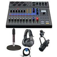 Image of Zoom LiveTrak L-8 Portable 8-Channel Digital Mixer and Multitrack Recorder - Bundle With MXL BCD-1 End Address Dynamic Mic, On-Stage DS7200B Desktop Mic Stand, A-T ATH-M20x Pro Monitor Headphones, Cable