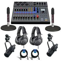 Image of Zoom LiveTrak L-8 Portable 8-Channel Digital Mixer and Multitrack Recorder - Bundle With 2x MXL BCD-1 End Address Dynamic Mic, 2x On-Stage DS7200B Desktop Mic Stand, 2x A-T ATH-M20x Headphones, Cable