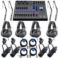 Image of Zoom LiveTrak L-8 Portable 8-Channel Digital Mixer and Multitrack Recorder - Bundle With 4x MXL BCD-1 End Address Dynamic Mic, 4x On-Stage MBS5000 Webcast Boom Arm, 4x A-T ATH-M20x Headphones, Cables