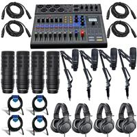 Image of Zoom LiveTrak L-8 Portable 8-Channel Mixer and Multitrack Recorder - Bundle With 4x AT BP40 Dynamic Broadcast Mic, 4x AT ATH-M20x Pro Monitor Headphones, 4x Marantz Pod Pack 1 USB Mic W/Cable, Cables