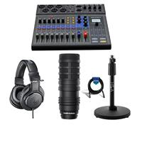 Image of Zoom LiveTrak L-8 Portable 8-Channel Digital Mixer and Multitrack Recorder - Bundle With AT BP40 Large-Diaphragm Dynamic Broadcast Mic, AT ATH-M20x Pro Monitor Headphones, H&A Tabletop Mic Stand, Cable