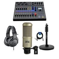 Image of Zoom LiveTrak L-8 Portable 8-Channel Digital Mixer and Multitrack Recorder - Bundle With Heil Sound PR40 Cardioid Studio Mic Champagne, AT ATH-M20x Pro Monitor Headphones, H&A Tabletop Mic Stand, Cable