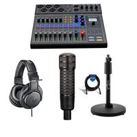 Image of Zoom LiveTrak L-8 Portable 8-Channel Mixer and Multitrack Recorder - Bundle With Electro-Voice RE320 Variable-D Dynamic Microphone, AT TH-M20x Pro Monitor Headphones, H&A Tabletop Mic Stand, Cable