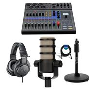 Image of Zoom LiveTrak L-8 Portable 8-Channel Digital Mixer and Multitrack Recorder - Bundle With Rode Podcasting Microphone with Swing Arm, AT ATH-M20x Pro Monitor Headphones, H&A Tabletop Mic Stand, Cable