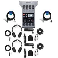 Image of Zoom PodTrak P4 Podcast Recorder - Bundle With 2 Pack Zoom ZDM-1 Podcast Microphone Pack, 2 Pack 20' Heavy Duty 7mm Rubber XLR Microphone Cable