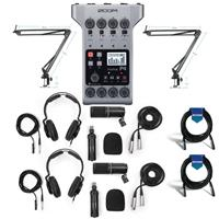 Image of Zoom PodTrak P4 Podcast Recorder - Bundle With Zoom ZDM-1 Podcast Microphone Pack, Technical Pro ARM1 Microphone Suspension Crane Arm, 20' Heavy Duty 7mm Rubber XLR Microphone Cable