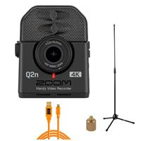 Image of Zoom Q2n-4K Handy Video Recorder - Live Streaming Kit, Includes Tripod Mic Stand + Tether Tools TetherPro 15' USB 2.0 A Male to Micro-B 5 Pin Cable