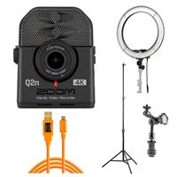 """Image of Zoom Q2n-4K Handy Video Recorder - Pro Live Streaming Kit, Includes 19"""" Led Ring Light + Stand + 15' Cable"""