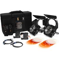 Image of Zylight F8-200 Daylight 200W LED Fresnel Dual Head ENG Kit with Gold Mount Battery Plates and Case