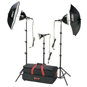 Splendid K6RC 3 Light, 1250 watt Home Portrait Lighting Kit with Light Cart on Wheels Carrying Case. Product photo