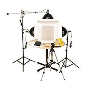 "Amazing KLB-3, Three Light 1500 Total watt Photoflood Light Box Kit with 28"" Shooting Tent. Product photo"