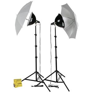 Design KT1000U, 2 Light 1000 watt Thrifty Photoflood Intermediate Kit with Umbrellas Product photo