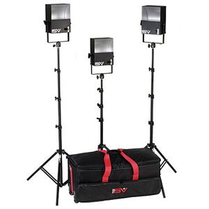 Unique SL300 3 600 Watt SoftLight Quartz Light Kit with Light Cart on Wheels Carrying Case. Product photo