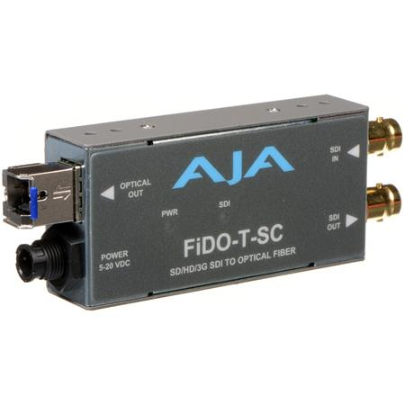 AJA FiDO T SC Single Channel Optical Fiber SDI to SC Fiber Converter Looping SDI Output 182 - 448
