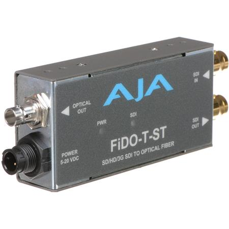 AJA FiDO T ST Single Channel Optical Fiber SDI to ST Fiber Converter Looping SDI Output 274 - 85