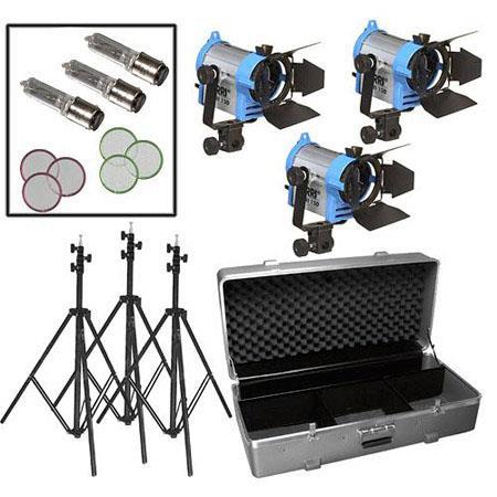 Arri Tungsten Fresnel Three Light Kit V Bulbs Light Case Wheels 195 - 298
