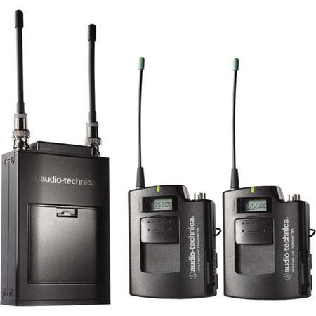 Audio Technica ATW Dual Wireless Microphone System Includes ATW T Transmitters ATW R Dual Receiver B 83 - 81
