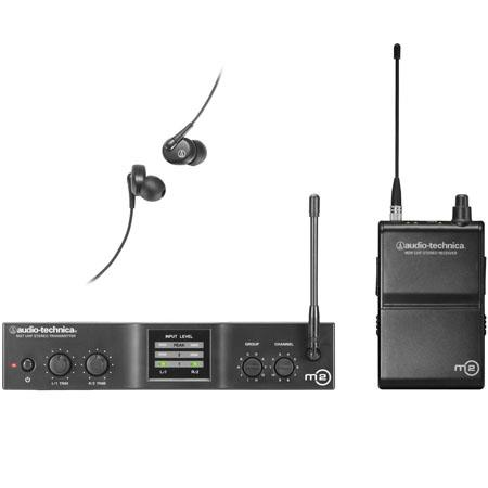Audio Technica ML Wireless In Ear Monitor System Includes EP Headphones MT Stereo Transmitter MR Ste 48 - 551