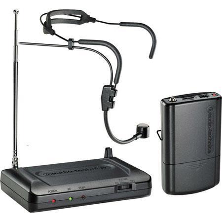 Audio Technica ATRH T VHF Wireless Headworn Microphone System Includes Receiver Bodypack Transmitter 55 - 568