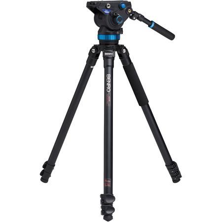 Benro AF Series Aluminum Video Tripod S Pan Tilt Head Flat Base Leg Sections Flip Lock Leg Release L 81 - 76