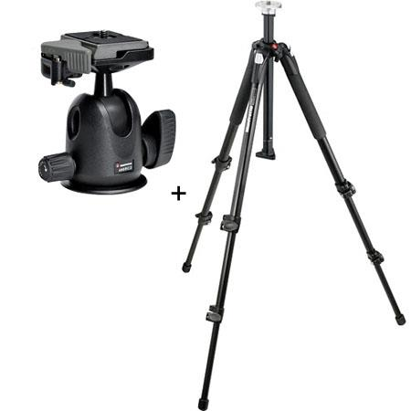 Manfrotto XB Section Aluminum Tripod Legs Manfrotto Compact Ball Head RC Rapid Connect Plate 66 - 63