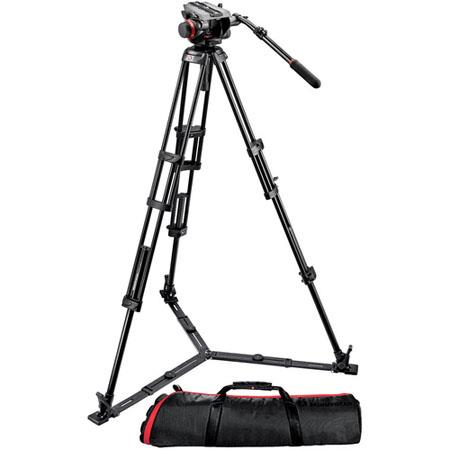 Manfrotto HD VD Fluid Video Head GB Aluminum Tripod Legs Maximum Height Supports lbs 43 - 515