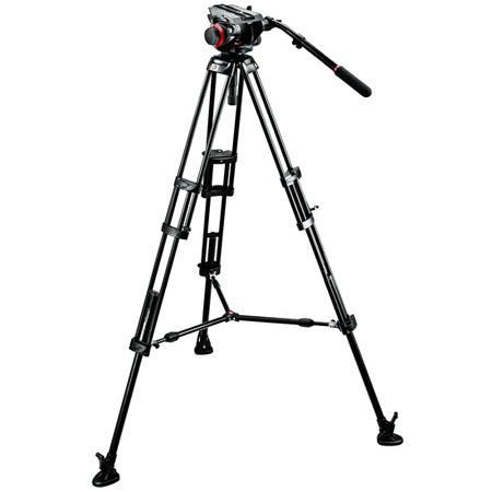 Manfrotto HD VD Fluid Video Head B Aluminum Tripod Legs Maximum Height Supports lbs 54 - 554