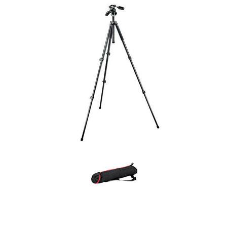 Manfrotto Aluminum Section Tripod Way PhotoVideo Head Bundle Manfrotto Tapered Tripod Bag MBAGN 296 - 137